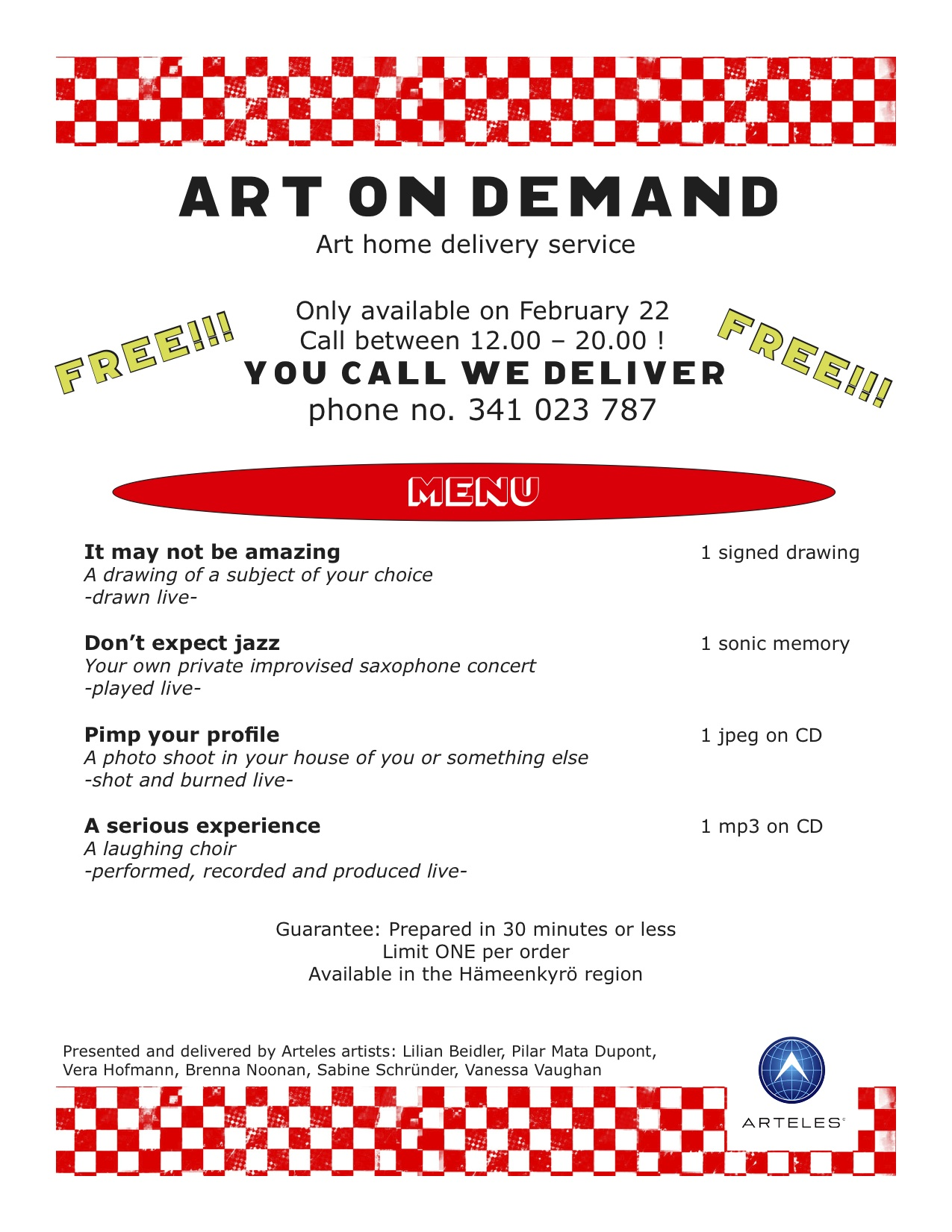 art on demand Menu